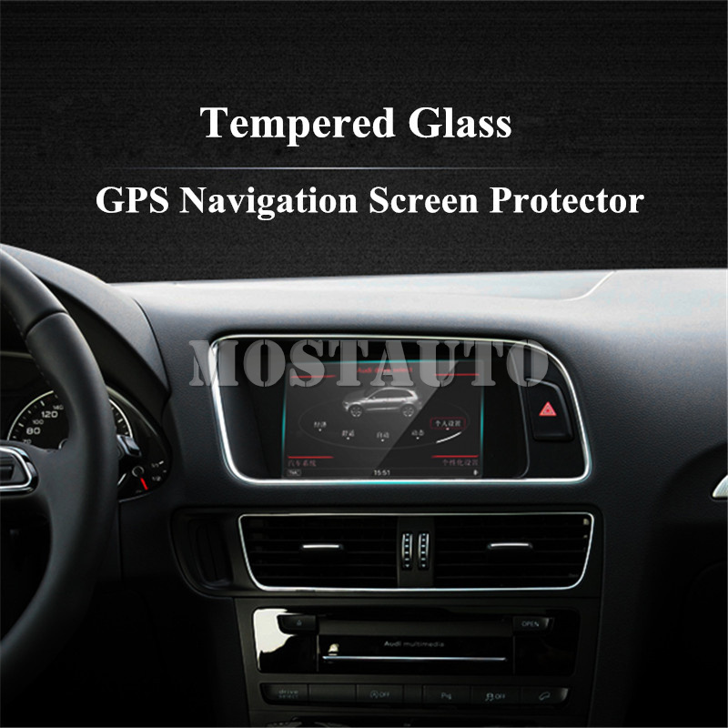 For Audi Q3 Q5 7.0 Inch Tempered Glass GPS Navigation Screen Protector 2009 2015 1pcs Interior Mouldings     - title=