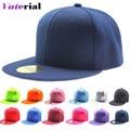 2016 New Spring Summer Pure Caps Flat Hip Hop Hat Europe Style Cowboy Hats Baseball 19 Colors Adjustable Free Shipping VA0888