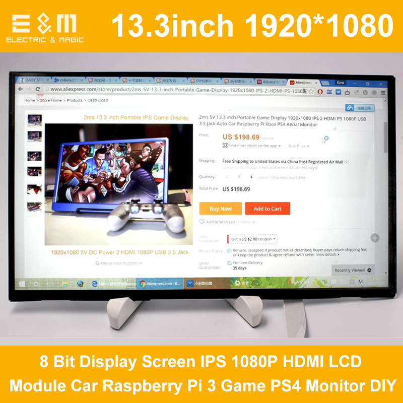 E&M 13.3 Inch 1920*1080 8 Bit Display Screen IPS 1080P HDMI LCD Module Car Raspberry Pi 3 Game PS4 Monitor DIY