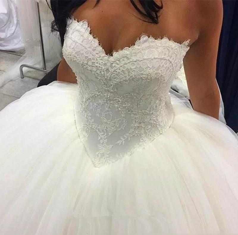 2019 New Lace Ball Gown Wedding Dress Strapless Vestido De Noiva Bride Gowns