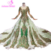Long Prom Dresses 2019 Green Tulle Arabic Party Gowns With Gold Lace Crystals Gold Lace Crystals Beads Party Evening Prom Dress