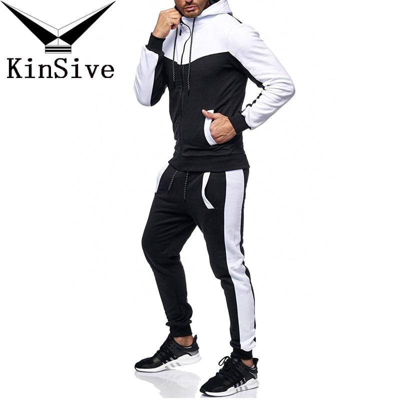 2018 Brand New Mens Jogger Set Di Moda Autunno Sporting Vestito Felpe + Pantaloni Della Tuta 2 Pezzi Mens Abbigliamento Maschile Set Tuta