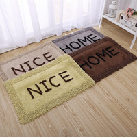 Handmade cotton hall mats Thickening Bedroom bedside rug Bathroom kitchen long printing absorbent mat Chenille material carpet
