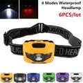 6pcs/lot multicolour Headlamp CREE Q5 Mini Waterproof 600Lm 4 Modes R3+2 LED Headlight 3xAAA bike bicycle light with Headband