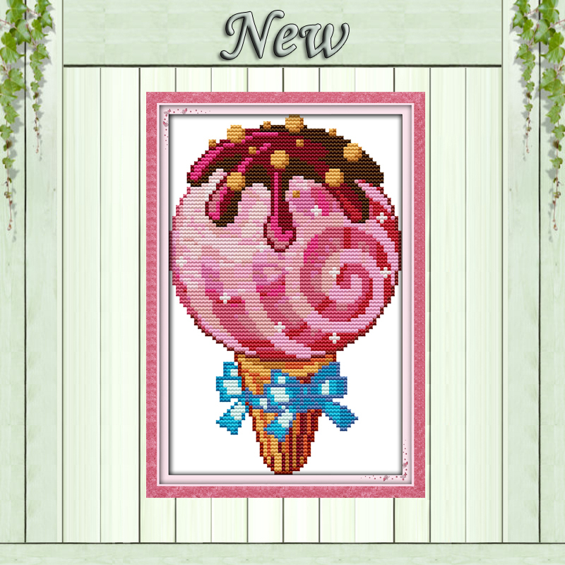 Ice cream dessert sugar home wall Decor foods Pattern print on fabric DMC 11CT 14CT Cross Stitch kits,needlework Sets embroidery