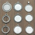 15pcs 20mm Inner Size Round Glass Cabochon Base Setting Antique Silver Color For Jewelry Making FM4024