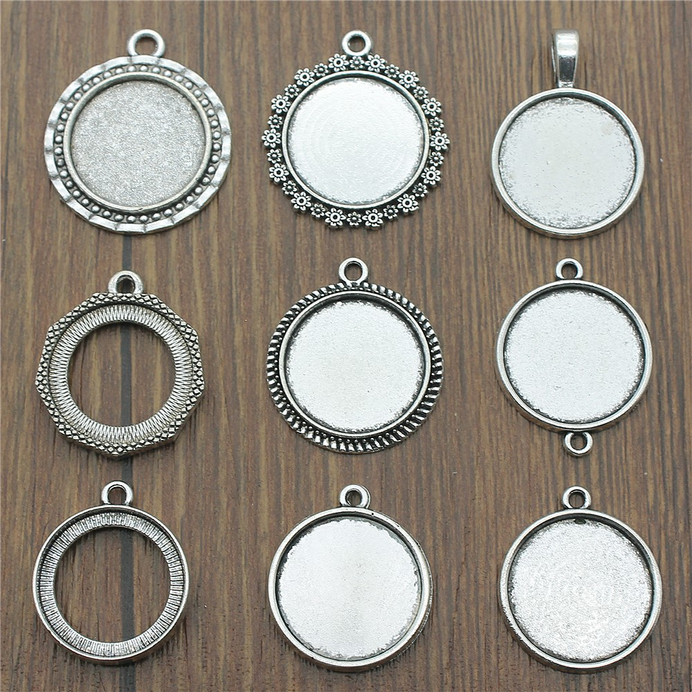 15pcs/lot Fit 20mm Round Glass Cabochon Base Setting Pendant Tray For Jewelry DIY Making Antique Silver Color FM4024