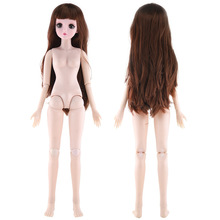 60cm 22 Movable Jointed BJD Dolls White Skin 3D Eyes Naked Nude Girl Toy Doll Body Shoes Accessories Dolls Toys For Girls Gift недорого