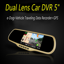 Dual Lens Car DVR 6″ Smart rearview mirror navigation recorder cloud electronic dog GPS ,G-Sensor and Parking Monitor all-in-one