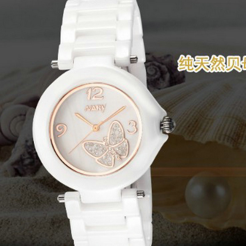 The new trend of fashion temperament elegant lady ceramic business casual Watch lady of magick