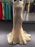 Luxury Pearl Beading Meramdi Evening Dress cap Sleeve Strapless Champagne Tulle Evening Gown Blue Embroidery Arabic Prom Dress