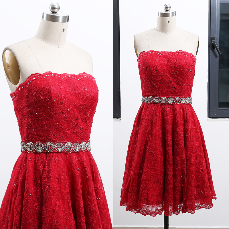 MACloth Red A-Line Strapless Knee-Length Short Crystal Satin   Prom     Dresses     Dress   M 262363 Clearance