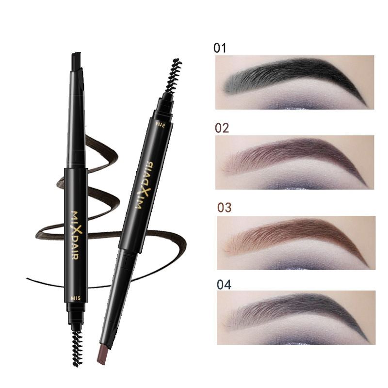 Eyes Three-Dimensional Double-Headed Eyebrow Pen Cosmetics Waterproof Smudge-Proof Rotating Eyebrow Pencil