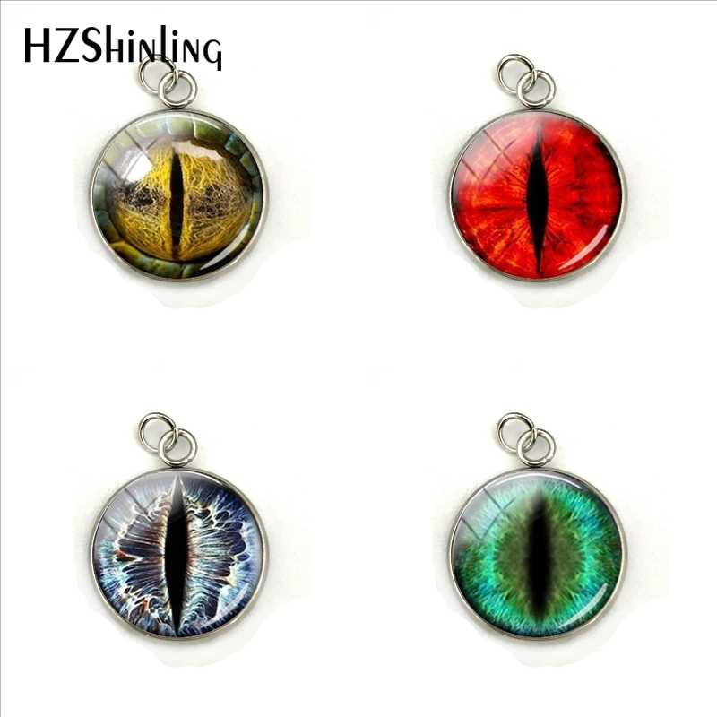 Dragon Eye Pendant Personality Eyes Glass Cabochon Stainless Steel Plated Pendant Charms Jewelry Handmade Craft Accessories