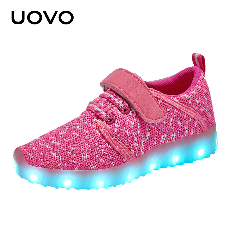 UOVO LED Luminous Shoes kids usb charing boys& girls outdoor breathable sport knitting textile  casual sneakers lights Eur25-37#
