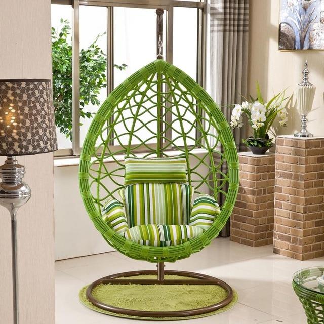 Flat Round Wicker Chair Rattan Basket Hanging Cradles Atmosphere Swing Rocking Indoor Balcony