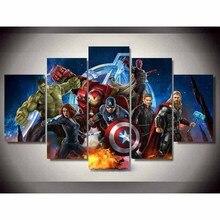Картина Настенная модульная рамка HD Современная печатная 5 панель фильм плакат Мстителей для гостиной картины холст домашний декор