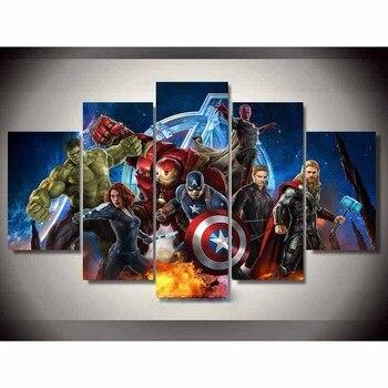Картина стены книги по искусству модульная Framework HD Современные печатные 5 панель фильм плакат Мстителей для гостиная фотографии холст домаш...
