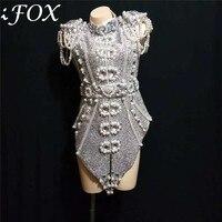 Новый дизайн к требованиям заказчика; сверкающие; серый серебряными кристаллами Двойка Для женщин танцор костюм сексуальное платье без рук