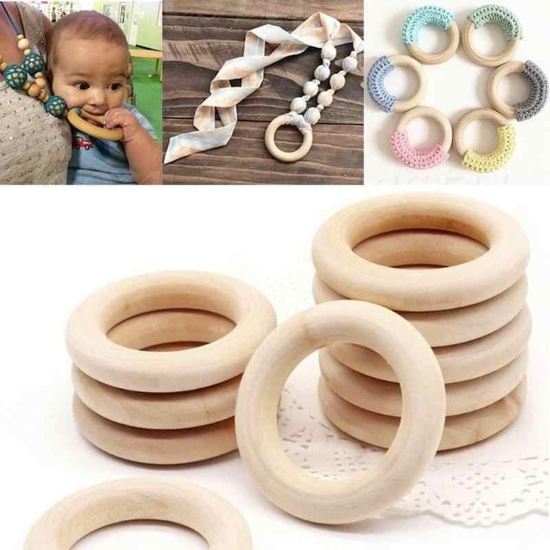 10pcs Natural Natural Rings Children Kids DIY Wooden Jewelry Making Crafts Baby Wooden Teething Rings 15 20 30 65 70mm VUE5506