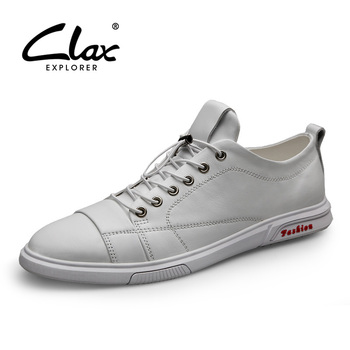 CLAX Man White Shoe Fashion Men's Leather Sneakers Genuine Leather Male Casual Shoes Walking Footwear Big Size