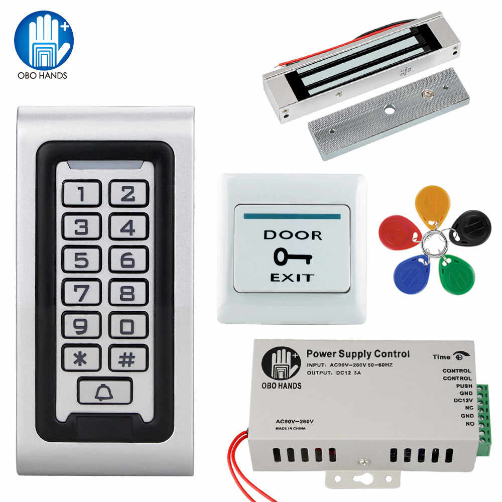 Tahan air IP68 RFID Keypad Access Control System Kit 125 KHz Logam Papan + Power Supply + Listrik Lock + Pintu Exit Beralih Luar