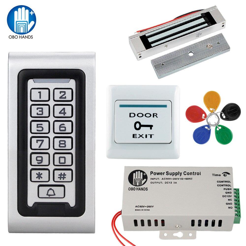 Kit de système de contrôle d'accès étanche IP68 125 KHz RFID clavier en métal + alimentation + serrure électrique + interrupteur de sortie de porte en plein air