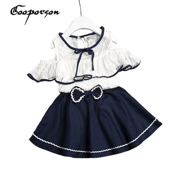 cfacf78a0c65 Girls Clothes Set t Lace Shoulderless T Shirt With Navy Blue Skirt ...