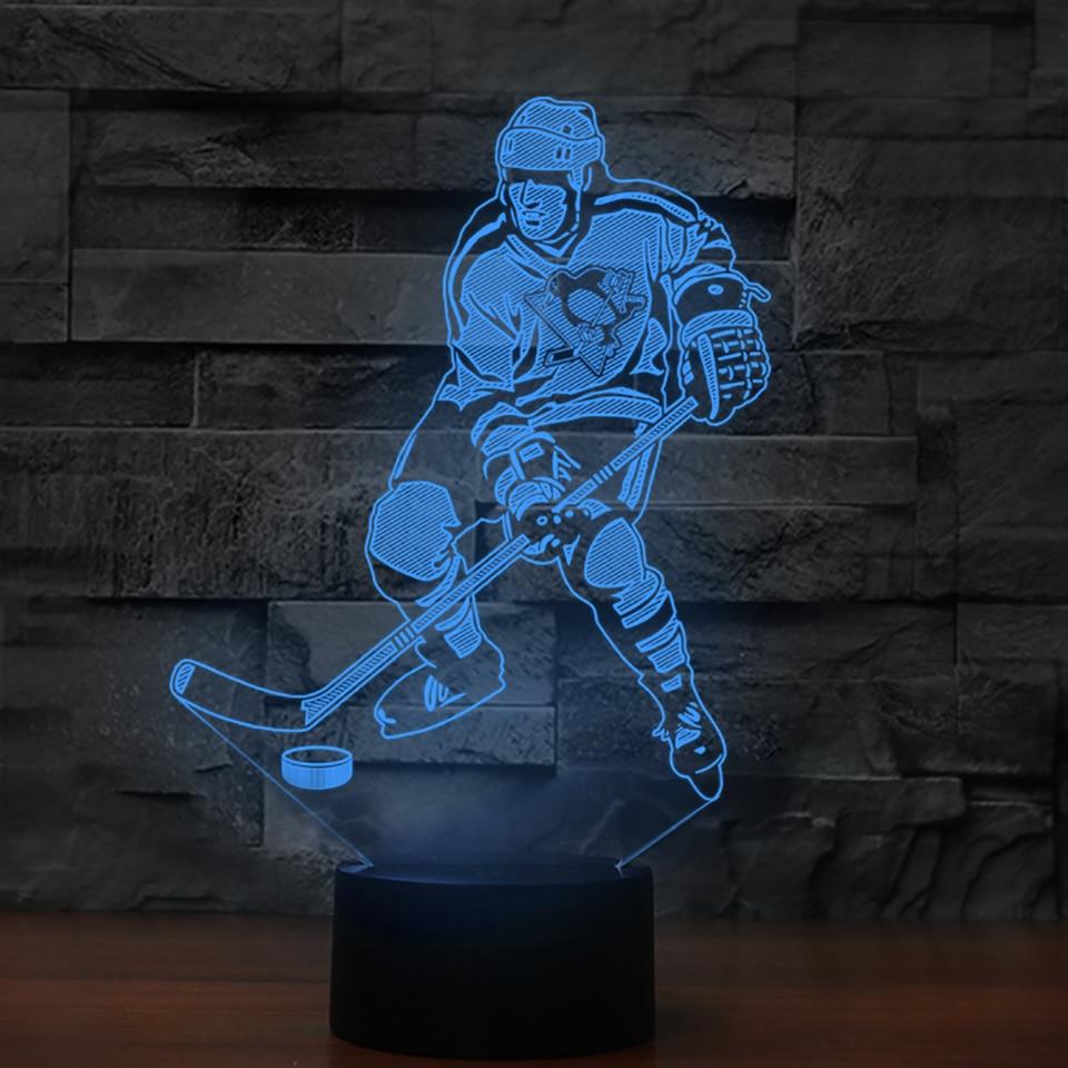 Creative Gifts Vision 3D Ice Hockey Player Modelling Led Desk Lamp USB 7 Colors Change Kids Bedside Sleep Night Light Home Decor home decor cartoon sheep bedside desk led night light