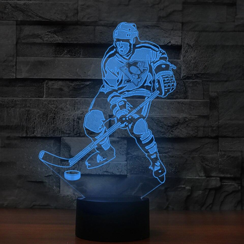 Creative Gifts Vision 3D Ice Hockey Player Modelling Led Desk Lamp USB 7 Colors Change Kids Bedside Sleep Night Light Home Decor