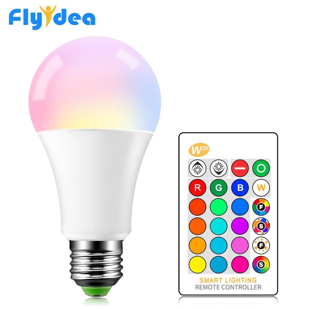 E27 LED 5/10/15W 16 couleur changeante ampoule magique 220V 110V RGB + blanc à distance lampe de lumière intelligente mémoire réglable + télécommande IR