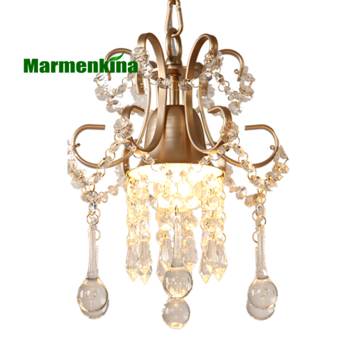 Simple crystal chandelier single head bedroom aisle balcony entrance crystal small hanging lamps, E27, white/gold Dia 23cm