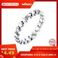 Wostui 100% auténtica Plata de Ley 925 6 anillos de estrellas de fiesta apilables de 6 estilos para mujeres Original marca de plata regalo de joyería 7151