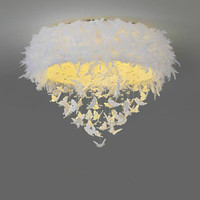 wedding decoration Led Ceiling Lighting Modern White Butterfly Feather Ceiling Lamp Art Deco Wedding Lustare For Hotel fixtures