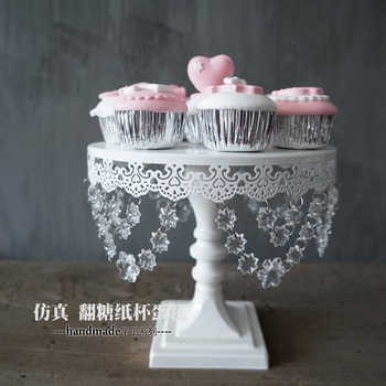 Europe Crystal cake stands with fondant backing tools for wedding party event dessert plate lace edge cakepop sweet table DGJ018