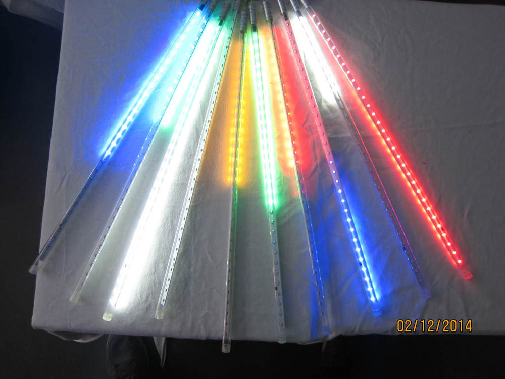 5sets/lot SMD5050 warm white red green double side led meteor shower lights led tube 12 * 500 mm10 pcs/set 48 leds/pc