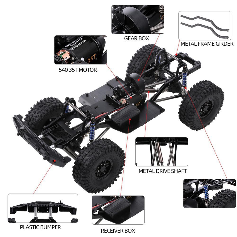 LeadingStar 313mm 12.3 pouces empattement châssis assemblé pour 1/10 RC véhicules sur chenilles SCX10 SCX10 II 90046 90047 - 5
