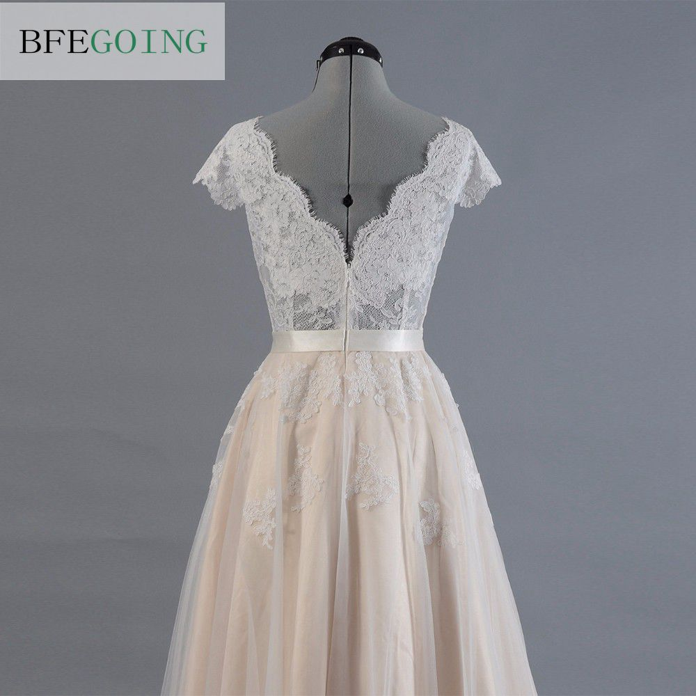Image 5 - Vestido de novia Lace A line Wedding dress Cap sleeve  V back Bridal gown Lace with Tulle-in Wedding Dresses from Weddings & Events