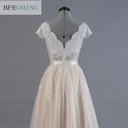 Vestido de novia Lace A-line Wedding dress Cap sleeve  V-back Bridal gown Lace with Tulle 6