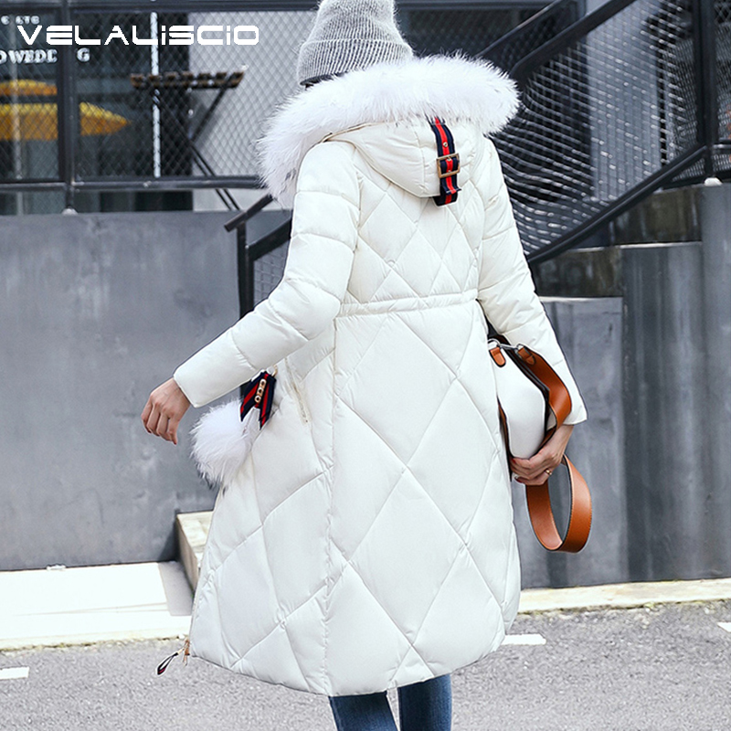 VELALISCIO 2017 New Winter Coats Feather Cotton Clothes Female Fox Fur Waist Was Thin In The Long Section Of Thick Warm Jacket 2017 winter new clothes to overcome the coat of women in the long reed rabbit hair fur fur coat fox raccoon fur collar
