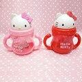 Garrafa pp gato dos desenhos animados do bebê crianças straw cup com alças As Crianças Aprendem a Beber Água copo de Treinamento Palha criança Garrafa Sippy Xícaras cup