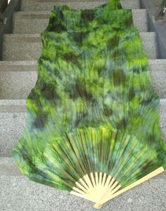 Image 1 - Профессиональная шелковая Фата для танца живота Neilos, черный цветок на зеленом фоне, длинные вееры для танца живота разных размеров, бесплатная доставка