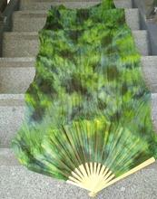 Professional Neilos Belly Dance Silk Veilsสีดำดอกไม้พื้นหลังสีเขียวBelly Dacingยาวแฟนๆหลายสีขนาดจัดส่งฟรี