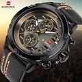 NAVIFORCE часы для мужчин модные повседневные кварцевые часы с 12/24 часа в сутки дня недели и даты наручные кожаные водонепроницаемые Relogio Masculino