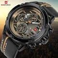 Naviforce腕時計男性ファッションカジュアルクォーツ腕時計12/24 h日と日付表示腕時計レザー防水レロジオmasculino