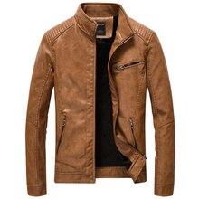 Deri Ceket Erkekler Casual Slim Fit Standı Yaka Yıkanmış PU Faux Deri Ceket Erkek Kalın Artı Kadife Motosiklet Bombacı Ceketler 5XL