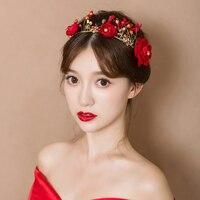 Gold Color Headband Princess Bridal Wedding Headdress Hair Accessories Trendy Red Yarn Flower Headpiece Ornaments Handmade