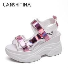 2019 Summer Women Sneaker Sandals Ladies Peep-toe 8CM Heels Wedges Platform Shoes Slippers Woman Classic Casual Bling