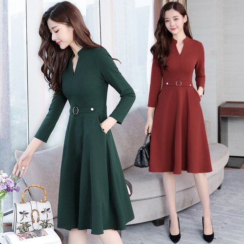 Detail Feedback Questions about Long Sleeve Dress Autumn Outfit New Pattern  Solid Suit dress Self cultivation Thin Temperament Vintage Dresses Vestidos  ... f15459ad8d47