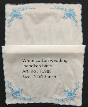 Set Of 12 Fashion Wedding Handkerchiefs White Cotton Hankie Hanky With Blue Scalloped Edges Color Blue Embroidery Floral 12